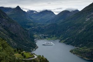 Surrounded by the towering fjords of Norway