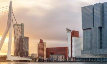 Rotterdam Skyline with Erasmusbrug bridge in morning , Netherlands